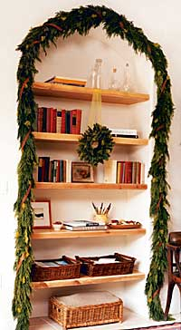 bookcase garland and wreath