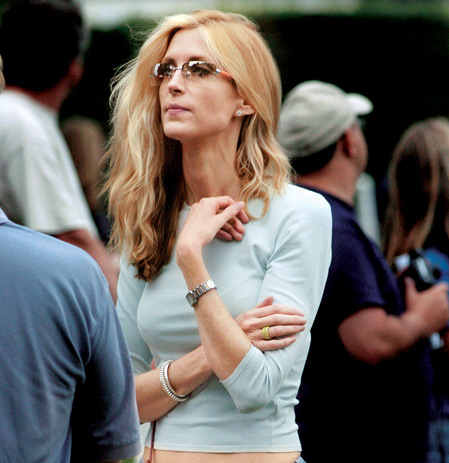 Coulter dressed for the August heat at a softball game in the Hamptons, on New York's Long Island