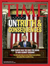 Time magazine cover for July 21 2003: Untruth and Consequences
