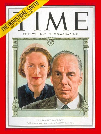 TIME Magazine Cover: The Dewitt Wallace's - Dec. 10, 1951:  -- Click for Table of Contents